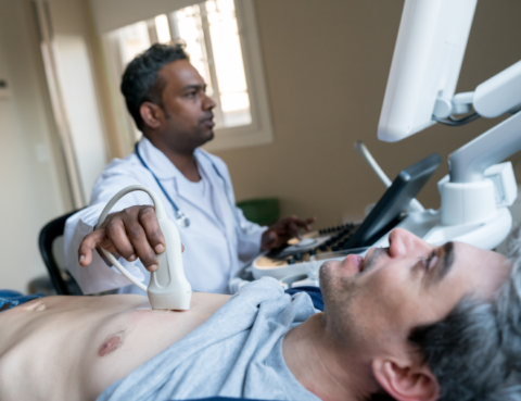 Man getting echocardiogram. (Photo courtesy of Andresr, Getty Images)