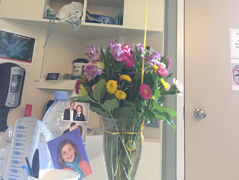 The photo by Stephanie's bedside of her daughter, Madeline, that motivated her during her recovery. (Photo courtesy of Stephanie Gerding)
