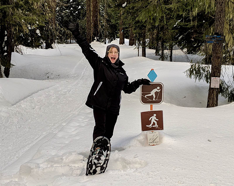 Stephanie Gerding snowshoeing for the first time after her strokes. (Photo courtesy of Stephanie Gerding)