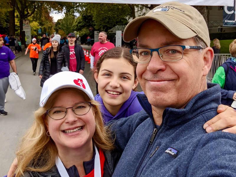 Stroke survivor Stephanie Gerding (left) with her husband, Patrick, and daughter, Madeline at a 2019 AHA Heart Walk. (Photo courtesy of Stephanie Gerding)