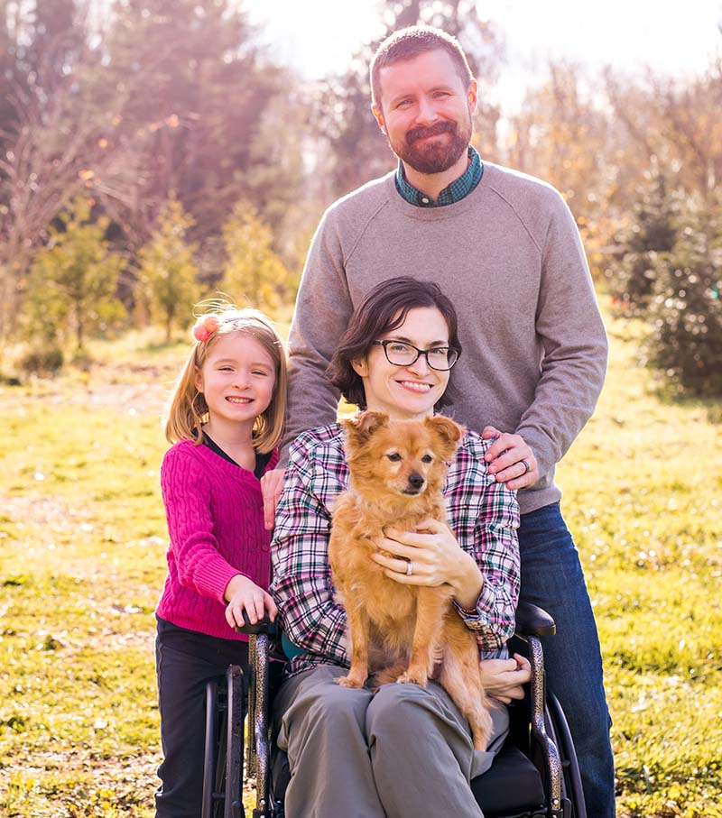Lisa Anderson with her family. Clockwise from left: Daughter Everly, husband Jacob, Lisa and the family dog, Ivy.(Photo by Amanda Orelman Photography)