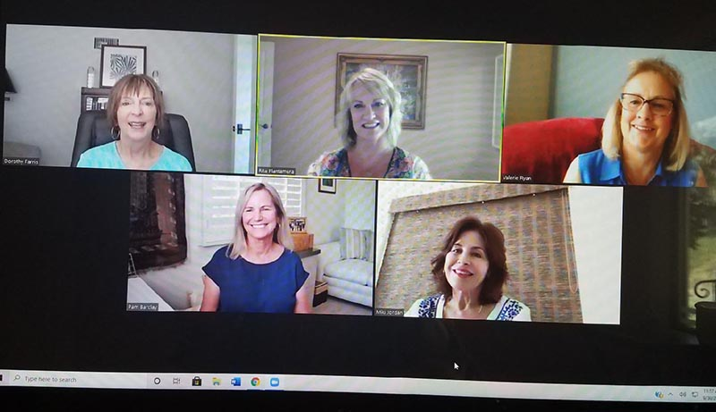 """A screenshot of Dorothy Farris hosting a weekly """"Cocktails and Conversation"""" call on Zoom with her friends in August 2020."""