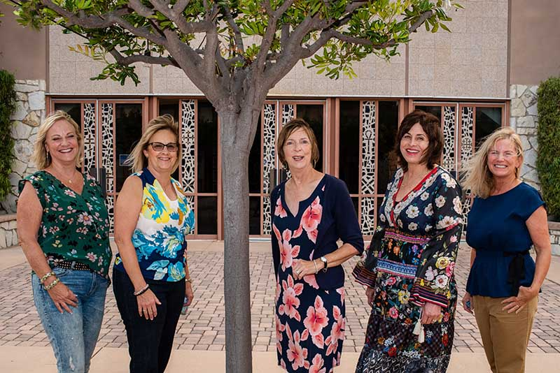 Dorothy Farris with her friends outside of St. Peter's by the Sea church in Rancho Palos Verdes, California. From left: Rita Plantamura, Valerie Ryan, Dorothy Farris, Miki Jordan and Pam Barclay. (Photo by Dawn Switzer)